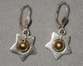 Vintage 925 sterling silver star danggle earrings
