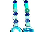 Earrings Genuine Semi-Precious Gemstones-Algo Azul (Something Blue in Spanish)Turquoise, 2 different types of Swarovski Crystals Jade,Shell