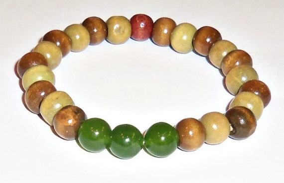 "Men's Bracelet:  Wood and Aventurine  ""Successful One"""
