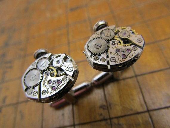Bulova 5AD Watch Movement Cufflinks. Great for Fathers Day, Anniversary, Groomsmen or Just Because