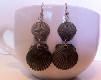 Grey Shell Earrings Silver Bindings Hand Collected Paired, Ready to Ship