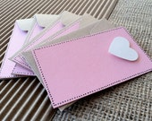 "Set of Five, Simple Love Note, 2"" x 3 1/2"", pink with white heart"