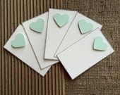 "Set of Five, Simple Love Note, 2"" x 3 1/2"", White w/Pastel Turquoise Heart"