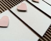 "Set of Five, Simple Love Note, 2"" x 3 1/2"", White w/ Pastel Pink Heart"