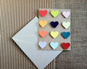 "Heart Chart, 4 1/4"" x 5 1/2"", Brown Bag Folded Card w/Hand Painted Multicolored Gouache Hearts"