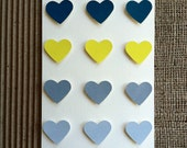 "Heart Chart, 4 1/2"" x 6 1/4"" (A6), Soft White Folded Card w/Hand Painted Multicolored Gouache Hearts"