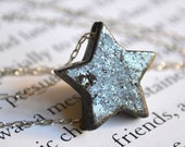 Star Necklace, pyrite necklace, vintage necklace, star jewelry, pyrite jewelry, celestial jewelry, sterling silver star, stone jewelry
