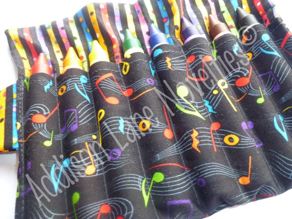8 jumbo crayons, Crayola crayons, travel accessory, washable crayons, music notes, music gift, crayon organizer, party gift, party favor