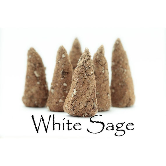 Artisan Hand Made Incense Cones, White Sage, Set of 6