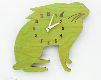 "The ""Mamma Lime Green Hare"" designer wall mounted clock from LeLuni"