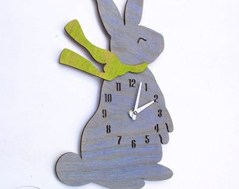 "The ""Baby Bunny in Baby Blue"" designer wall mounted clock from LeLuni"