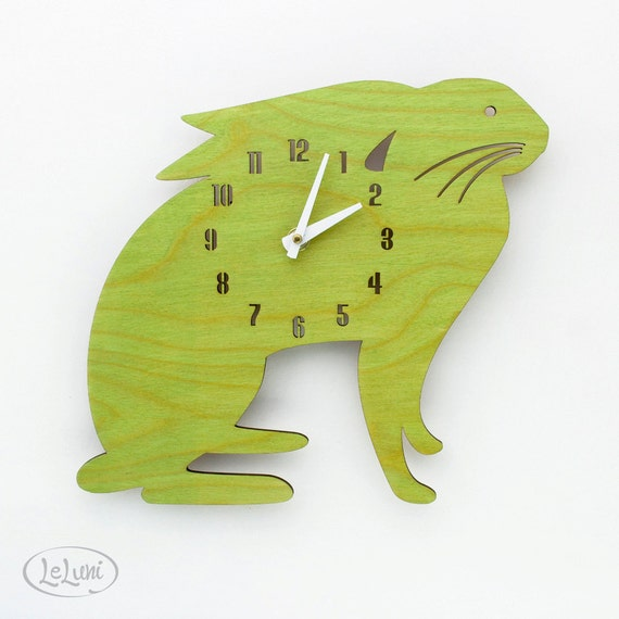 """The """"Mamma Lime Green Hare"""" designer wall mounted clock from LeLuni"""