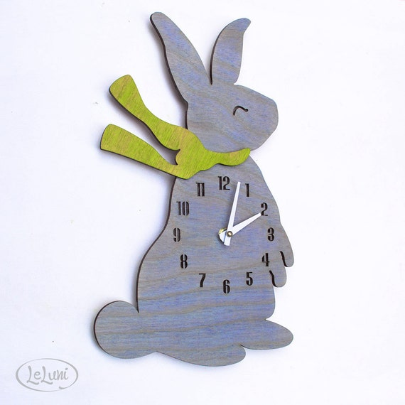 """The """"Baby Bunny in Baby Blue"""" designer wall mounted clock from LeLuni"""
