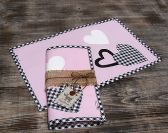 LAST ONE - Pink, Black & White Valentine Heart Print Waterproof Pet Placemat
