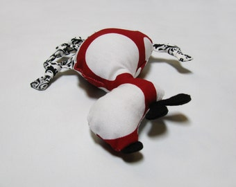 Small Red & White Polka Dot Dog Squeaky