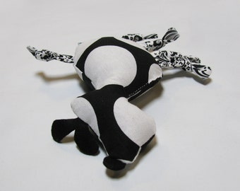 Small Black & White Polka Dot Dog Squeaky