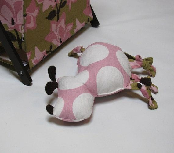 Large Pink Polka Dot Dog Squeak Toy