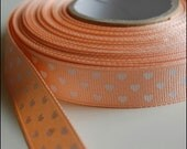 Reserved for sheridenna-white hearts on peach grosgrain ribbon 2 yd