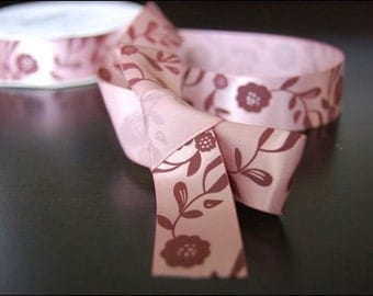 Mauve Satin Antique Floral Ribbon 1 yd