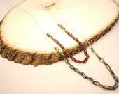 Bright Neon Thread & Chain Necklace w/ Pyrite Stone Beads Set
