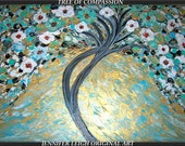 """Original Large Abstract Painting Modern Contemporary Canvas Art Blue White Gold """"TREE of COMPASSION"""" Texture Oil Tree by J.LEIGH"""