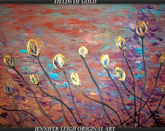 FIELDS of GOLD.....Original Large Abstract Painting Modern Contemporary Canvas Art Gold Floral Oil by J.LEIGH