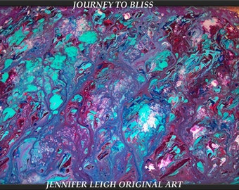 JOURNEY To BLISS......Original Abstract Painting Modern Contemporary Canvas Art Turquoise Purple Oil Texture by J.LEIGH