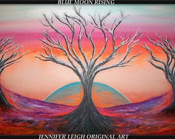 """Blue Moon Rising......Original Large Abstract Painting Modern Contemporary Canvas Art Red Orange Blue Black Tree 36x24"""" Oil by J.LEIGH"""