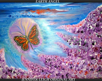 EARTH ANGEL....18x24 Original Abstract Painting Modern Acrylic Painting Oil Painting Canvas Art Monarch Butterfly Wall Art  J.LEIGH