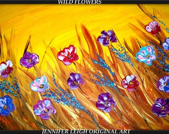 "Original  Large Abstract Painting Modern Contemporary Canvas Art Blue Orange Purple Red Brown ""WILD FLOWERS"" Texture Oil  J.LEIGH"