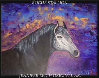 """Original  Large Abstract Painting Modern Contemporary Canvas Art  Horse  Purple Pink Black """"ROGUE STALLION"""" Texture Oil  J.LEIGH"""