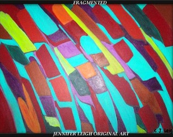 """Original Large Abstract Painting Modern Contemporary Canvas Art  """"FRAGMENTED"""" Turquoise Red Orange Oil by J.LEIGH"""