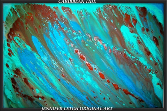 RESERVED......Original Large Abstract Painting Modern Contemporary Water 36x24 Canvas Art Blue Ocean Turquoise Brown Oil by J.LEIGH