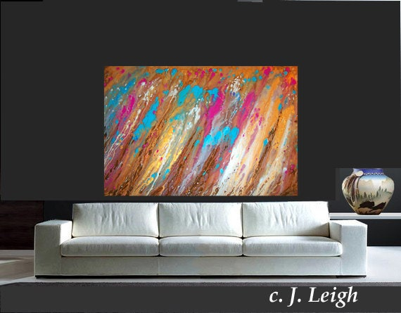 GOLD RUSH......Original Large Abstract Painting Modern Contemporary Canvas Art Blue Brown Gold White Pink Oil by J.LEIGH