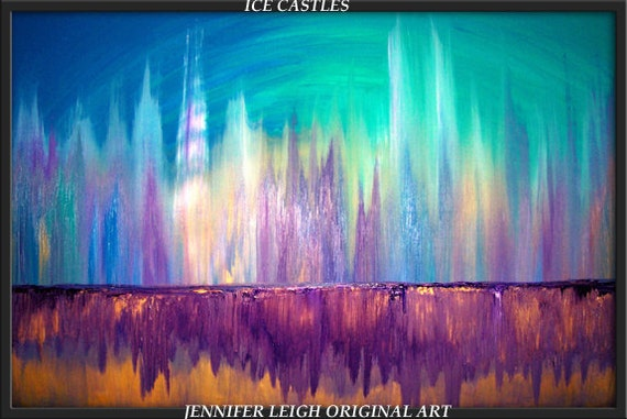 """Original Large Abstract Painting Modern Contemporary Canvas Art  36x24 Skyline """"ICE CASTLES"""" Texture Oil Blue Purple Gold 36"""" by J.LEIGH"""