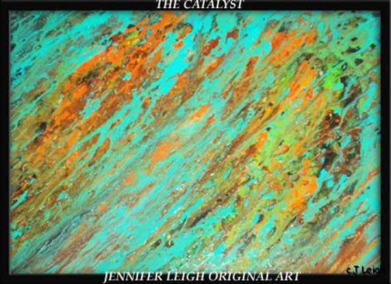 """Original Large Abstract Painting Modern Contemporary Canvas Art  """"THE CATALYST"""" Turquoise Brown Orange Oil by J.LEIGH"""