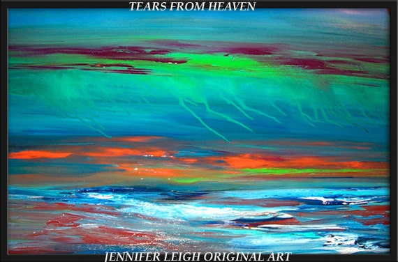 Original Large Abstract Painting Modern Contemporary Canvas Art Water Blue Orange Green 36x24 Brown Teal Seascape Texture Oil J.LEIGH