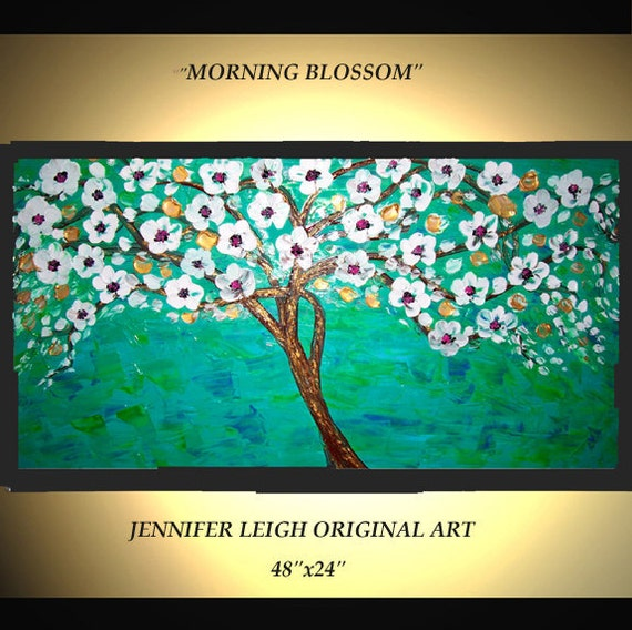 Original Large Abstract Painting Modern Contemporary Canvas Art Turquoise White Tree Morning Blossom 48x24 Palette Knife Texture Oil J.LEIGH