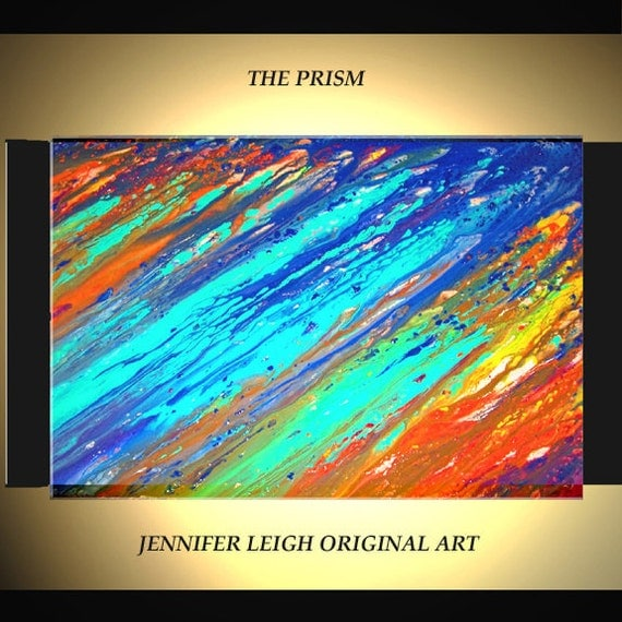 """Original Large Abstract Painting Modern Contemporary Canvas Art Turquoise Blue Orange Yellow """"Prism"""" Oil 36x24 Texture by J.LEIGH"""