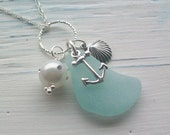SALE 20% Off - Scottish Sea Glass Jewelry - Sea Glass and Sterling Silver Shell and Anchor Necklace .......BEACH CLUSTER  (143)