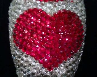 hearts rhinestone pointe shoe