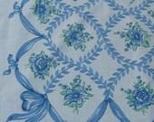 Vintage Blue linen tablecloth with  6 napkins