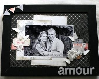 Photo frame - Pink, black & grey