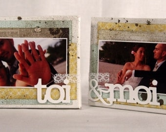 2 Photo canvas 10x10 cm - Wedding or Honeymoon