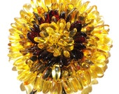 Baltic Amber hand made sunflower necklace, pendant or brooch