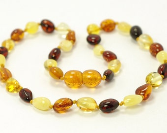 Baltic amber baby teething knotted necklace, olive shape amber beads