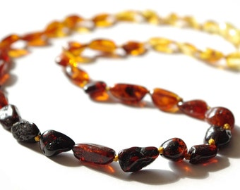 Baltic Amber Necklace Rainbow Color Olive Beads 308