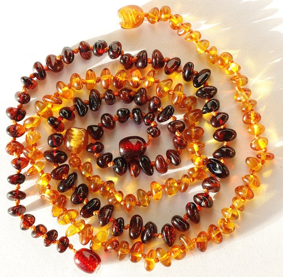 Baltic Amber Necklace Baby Teething. Set of Two 507