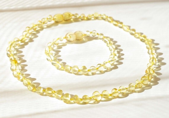 Set of Baltic amber baby teething necklace and bracelet or anklet Honey baroque shape beads 501