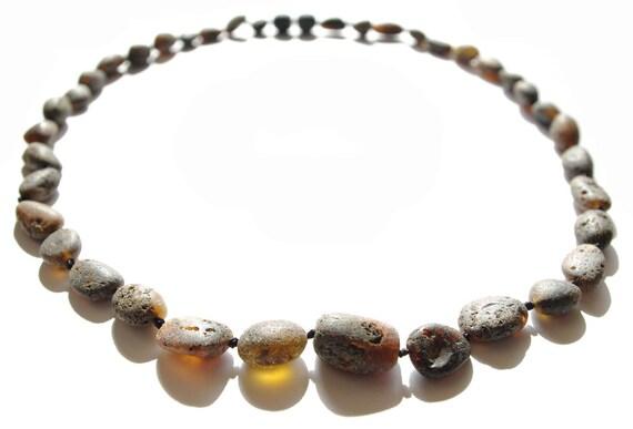 Raw Unpolished Black Baltic Amber Necklace. Unisex Adult 302